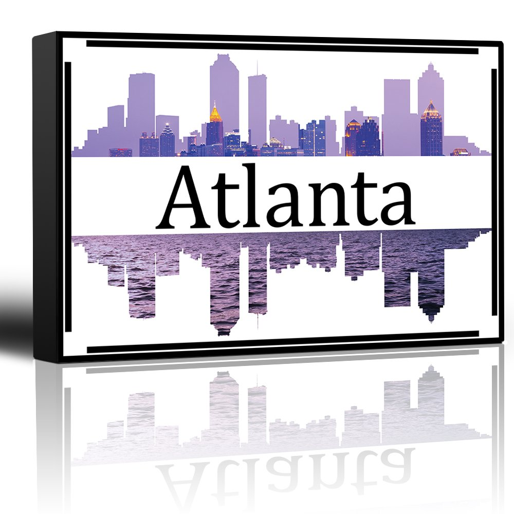 wall26 - City Skyline Series - Atlanta - Colorful Urban Decor - Sunsets and Silhouettes Famous Buildings and Landmarks - Canvas Art Home Decor - 12x18 inches