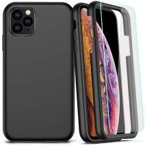 COOLQO Compatible for iPhone 11 Pro Max Case Matte 360 Full Body Coverage Hard PC+Soft Silicone TPU 3in1 Certified Military Shockproof Phone Protective with [2 x Tempered Glass Screen Protector]-Black