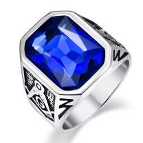VAKKI Men's Masonic Stainless Steel Ring Inlaid with Blue/Green/Red Rectangle Crystal Size 7-12