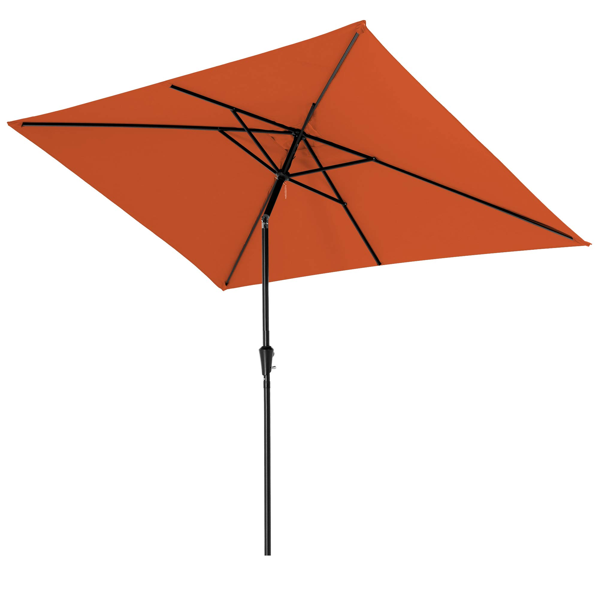 ROWHY 6.5 x 10ft Rectangular Patio Umbrella Outdoor Table Umbrella Market Umbrella with Push Button Tilt and Crank Portable Garden Sunshade UV Protection Waterproof for Lawn Garden, Orange