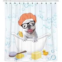 Bonsai Tree French Bulldog Shower Curtains, Cute Puppy Cloth Shower Curtains in Bath, Dog Having a Bath in a Tub Bathroom Shower Curtains Rings Home Decor 66x72 Inches