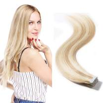 """Tape in Hair Extensions Blonde 16 inch Rooted Natural Human Hair Balayage Color Highlight Double Side Tape Seamless Skin Weft Long Straight 1.5g/pcs 20pcs(16"""" 30g,#18/613 Light Ash Brown mix Bleach"""