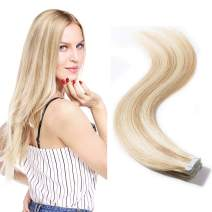 "Balayage Color Rooted Tape in Extensions Human Hair Highlight Highlighted 40pcs Double Side Tape Seamless Skin Weft Straight 2.5g/pcs(20""/20 inch 100g,#18/613 Light Ash Brown mix Bleach Blonde)"