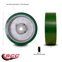 """5"""" x 1.5"""" Green Polyurethane Tread on Cast Iron Keyed Drive Wheel - 14mm Plain Bore with Two 1/4"""" Set Screws - Service Caster Brand"""