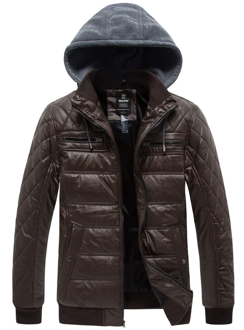Wantdo Men's Padded Fleece Faux Leather Jacket Coat Winter with Hood