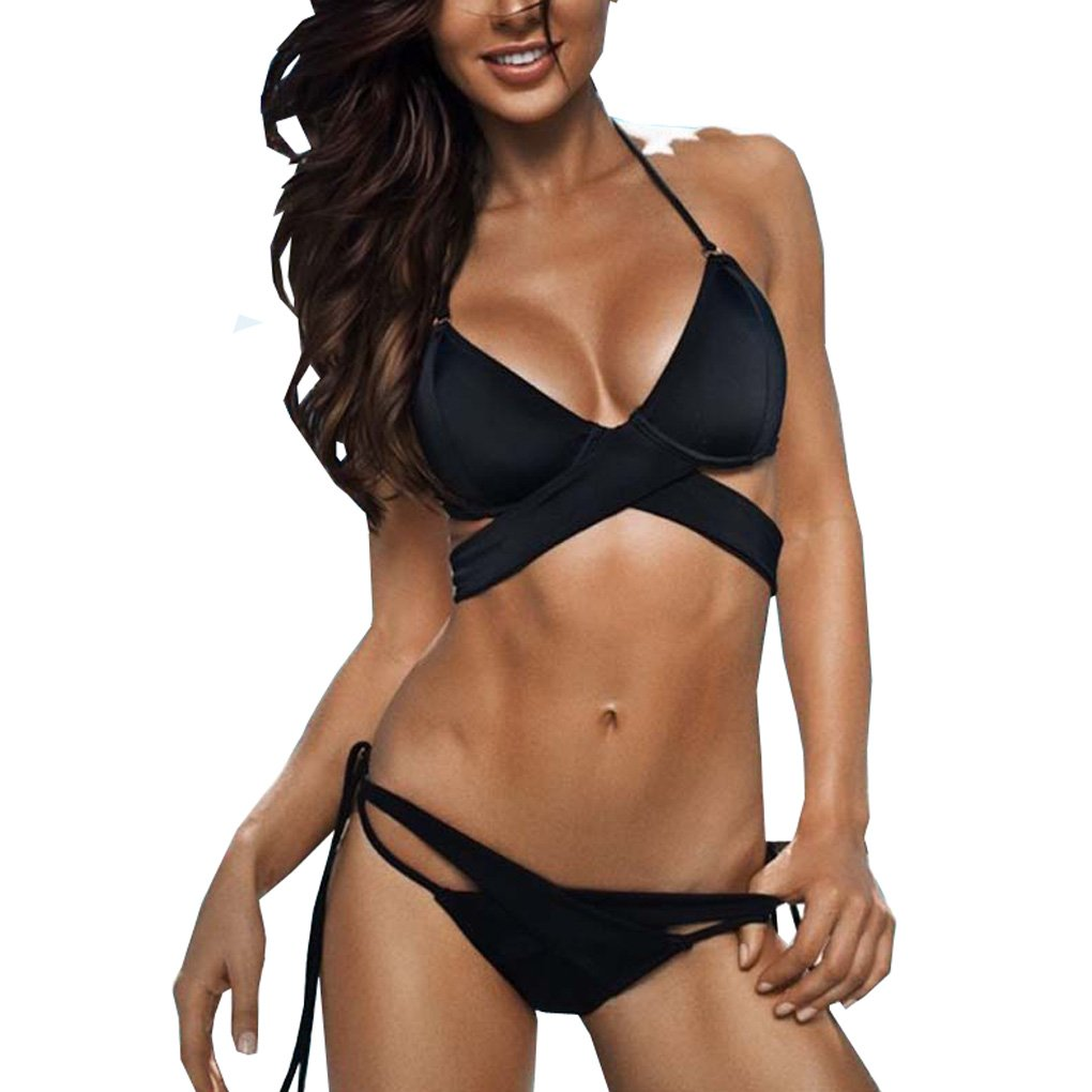 Sexybody Women's Push Up Halter Bikini Set Thong Bottom Swimsut Bathing Suit