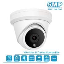 5MP IP POE Outdoor Turret Camera Dome Video Surveillance Camera Onvif Support Play and Plug with Hikvision H.265 Outdoor Indoor IP66 Weatherproof Dome Security Camera
