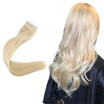 Easyouth Tape for Extensions Natural Human Hair Extensions Color 613 Bleach Blonde 12inches 60g per Package Tape in Human Hair Extensions Skin Weft Glue in Hair