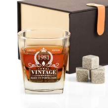 40th Birthday Gifts for Men, Vintage 1981 Whiskey Glass and Stones Funny 40 Birthday Gift for Dad, Husband, Brother, Son, 40th Anniversary Present Ideas for Him, 40 Bday Decorations Party Favors