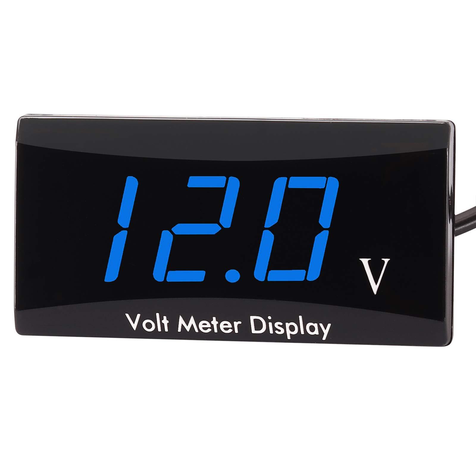 Kinstecks [Upgraded Version] Motorcycle Voltmeter DC 12V Digital Voltmeter Gauge LED Display Voltage Meter for Motorcycle Car Battery Voltage Monitor-Blue
