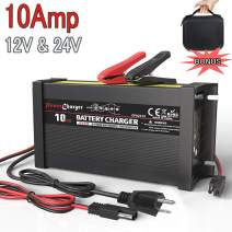 LST 12V 24V Truck Battery Charger Maintainer Auto Trickle Deep Cycle Charging for Automotive Car Marine Boat RV SLA ATV AGM Gel Cell WET Lead Acid Batteries