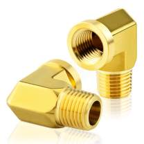Tailonz Pneumaitc Elbow Metals Brass Pipe Fitting 1/8 Inch Male Pipe x 1/8 Inch Female Pipe Adapte(Pack of 2)