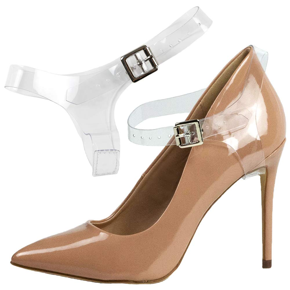 Eliza May Detachable Shoe Straps ShooStraps - to Hold Loose high Heeled Shoes, Wedges and Flats (Transparent Full)