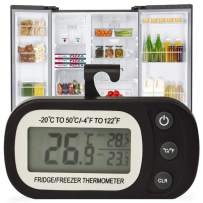 Digital Refrigerator Thermometer, IPX3 Waterproof Freezer Fridge Room Thermometer, Temperature Monitor Max/Min Record Function Large LCD Screen Easy to Read Thermometer for Home, Kitchen, Restaurants