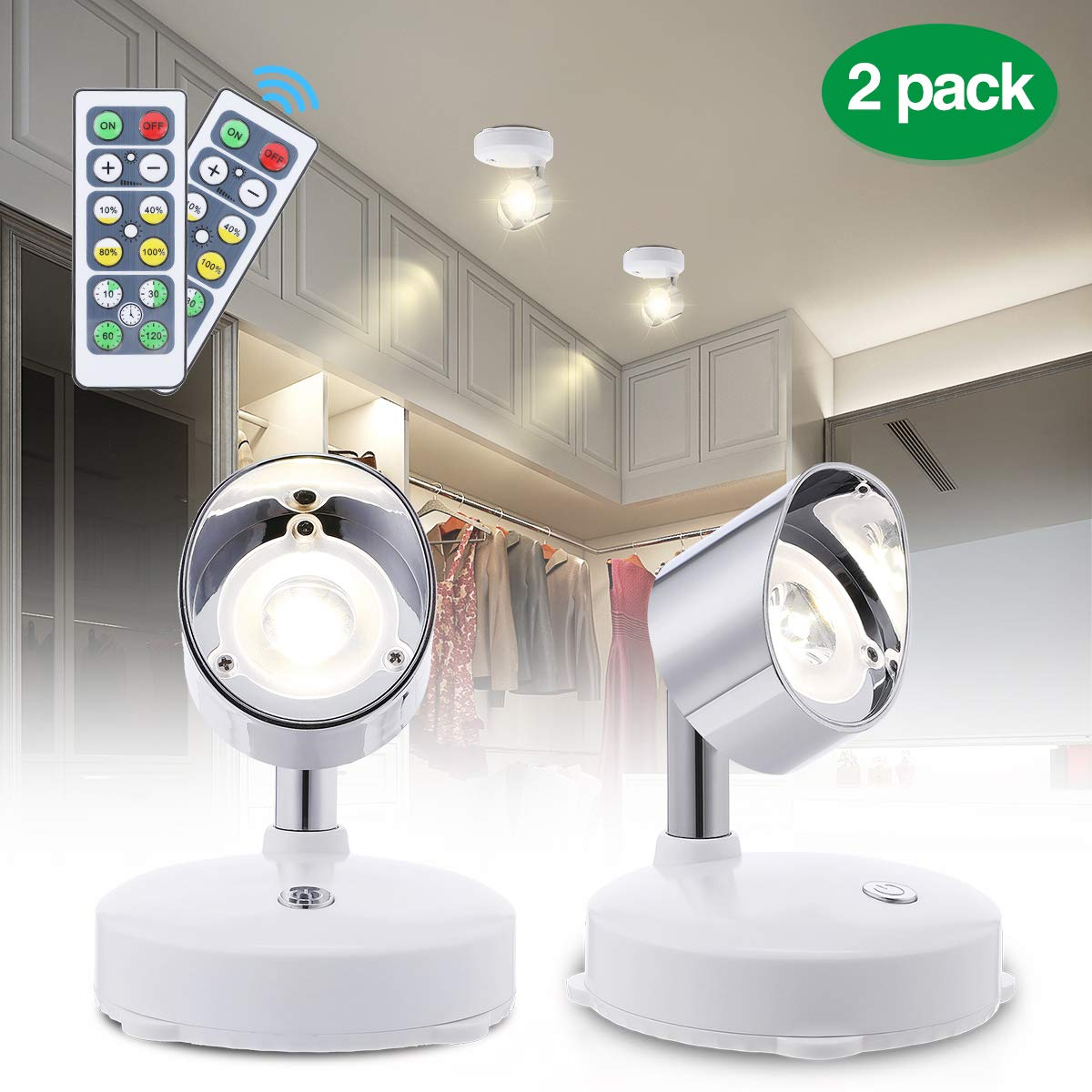 Elfeland LED Closet Lights LED Spotlight Wireless Puck Lights with Remote Battery Operated Accent Lights Dimmable Cabinet Lights with Rotatable Light Head Stick on Anywhere Indoor,Warm White(2 Pack)