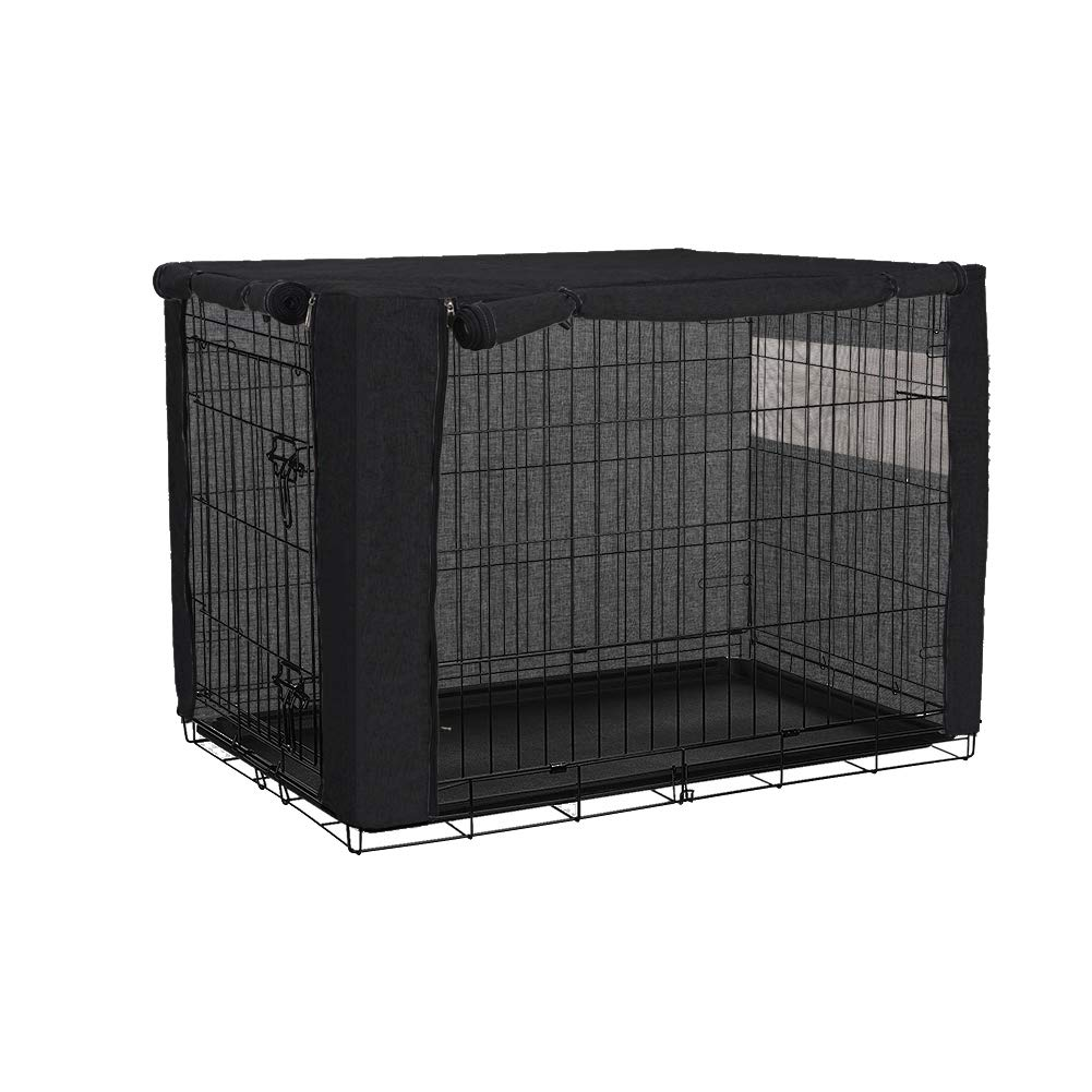 TUYU Dog Crate Cover, Dog Cage Cover, Durable Pet Kennel Cover, Perfect Two Entrance Dog Cage Cover for Wire Crate Indoor Outdoor Protection (Black, 37x24x25 inches)