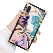 Square Case Compatible iPhone Xs iPhone X Case Agate Slice Marble Luxury Elegant Soft TPU Shockproof Protective Metal Decoration Corner Back Cover iPhone XS/X/10 Case 5.8 Inch