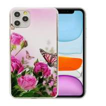 6.5 inch iPhone 11 Pro Max Case, Clear Flower Design Soft & Flexible TPU Ultra-Thin Shockproof Transparent Protective Floral Cover Case for iPhone 11 (2019) (Pink Rose-6.5)