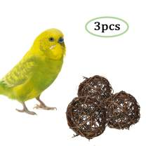 Hamiledyi 3 Pcs Bird Foraging Toys,Willow Branch Rattan Balls Finch Chew Activity Toy for Parrot Macaw Parakeet Cockatiels Budgerigar Lovebird Hamster Chinchilla Guinea Pig Gerbil