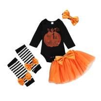 Newborn Infant Baby Girl Halloween Clothes My 1st Halloween Pumpkin 4PCS Outfit Set