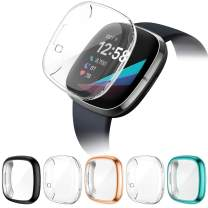QIBOX 5-Pack Screen Protector Case Compatible with Fitbit Versa 3/Sense, Soft TPU Full Coverage Screen Protective Cover Case Scratch Resistant Plated Bumper Shell Guard for Sense Advanced Smartwatch