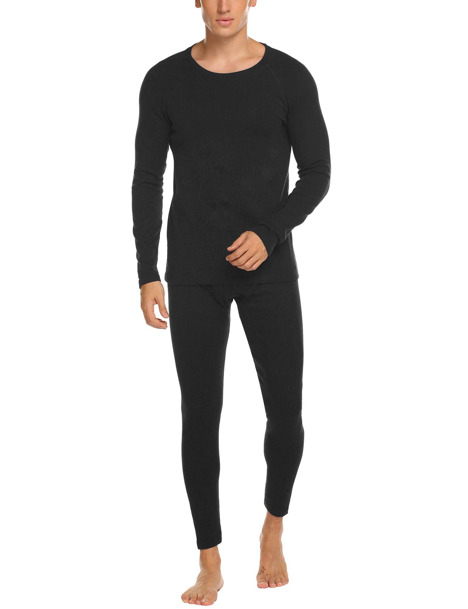 Hotouch Men's Thermal Underwear Set Wicking Top and Pant Base Layer Long John for Men