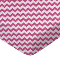 SheetWorld Fitted Sheet (Fits BabyBjorn Travel Crib Light) - Hot Pink Chevron Zigzag - Made In USA