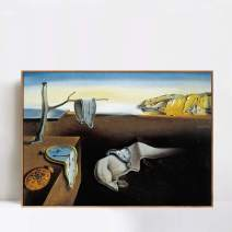 "INVIN ART Framed Canvas Giclee Print Art The Persistence of Memory,c.1931 by Salvador Dali Wall Art(Wood Color Slim Frame,20""x28"")"