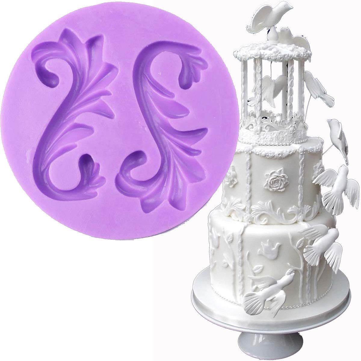 Anyana large big Vintage European Relief Baroque Scroll wedding mould cake Fondant gum paste silicone mold for Sugar paste baking cupcake decorating topper decoration sugarcraft décor
