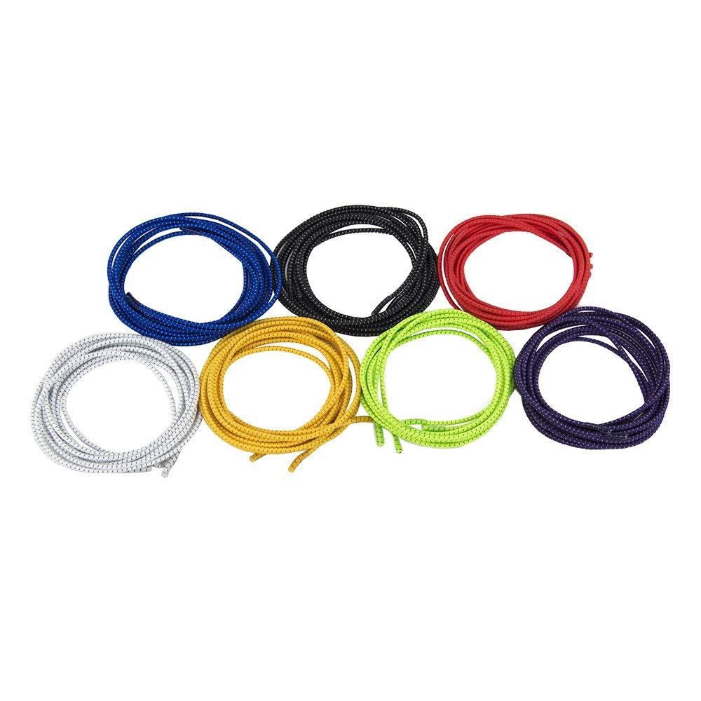 """7 Pairs No Tie Elastic 47"""" Shoelaces - Top Colors for Adults & Kids - Great for Shoes, Boots and Sneakers"""