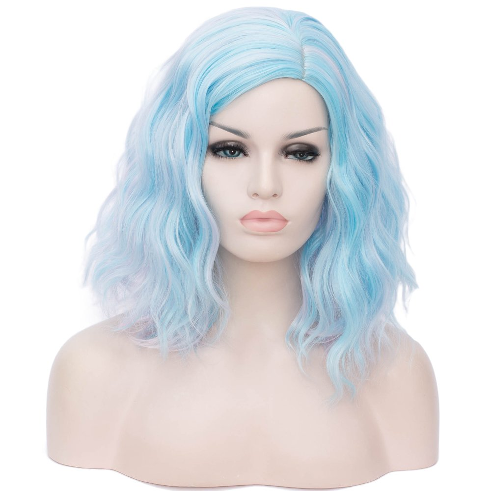 """BUFASHION 14"""" Women Short Blue Kinky Straight Cosplay Synthetic Wigs With Air Bangs 46 Colors Available (blue 2)"""