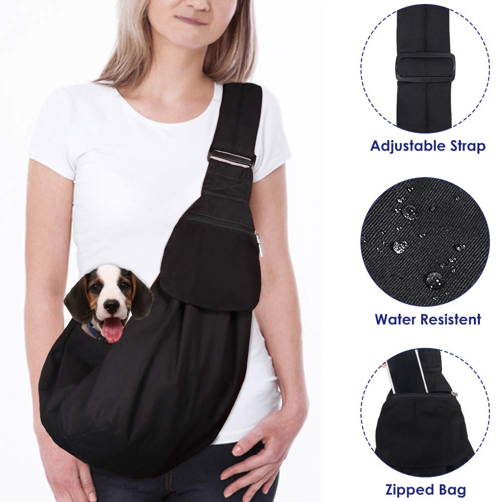 AUTOWT Dog Padded Papoose Sling, Small Pet Sling Carrier Hands Free Carry Adjustable Shoulder Strap Reversible Tote Bag with a Pocket Safety Belt Dog Cat Traveling Subway