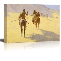 "wall26 - The Parley by Frederic Remington - Canvas Print Wall Art Famous Painting Reproduction - 12"" x 18"""