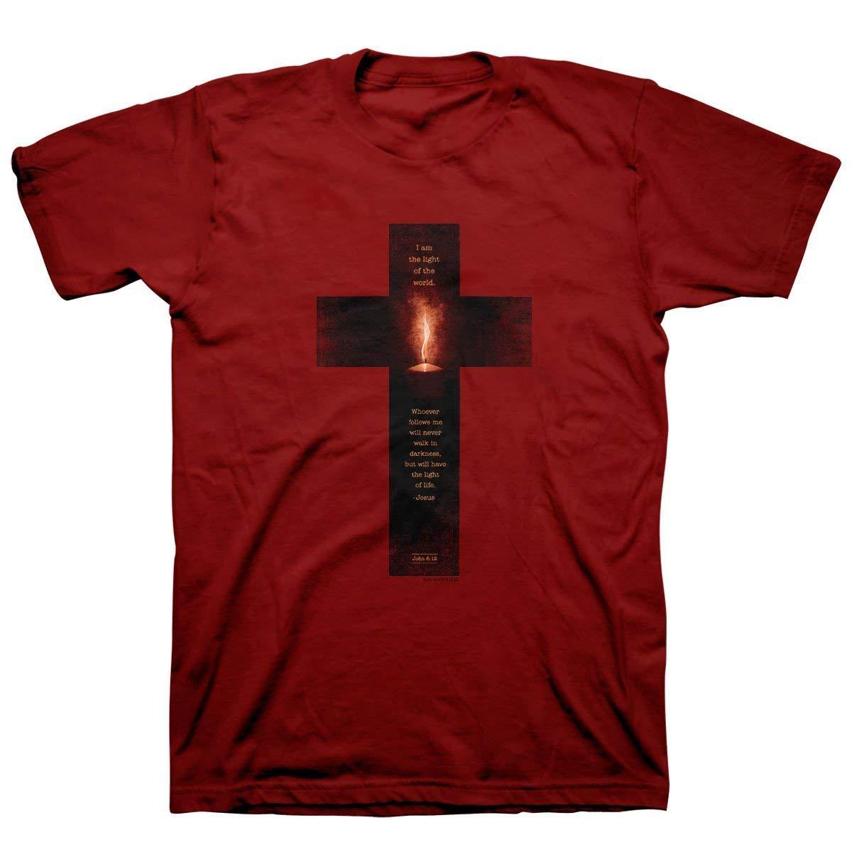 Kerusso Men's Light of The World Cross T-Shirt - Cardinal -