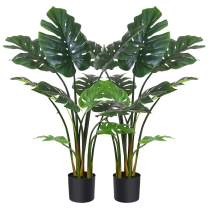 "Fopamtri Artificial Monstera Deliciosa Plant 43"" Fake Tropical Palm Tree, Perfect Faux Swiss Cheese Plant for Home Garden Office Store Decoration, 11 Leaves (2)"