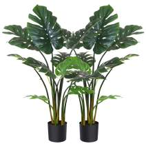 """Fopamtri Artificial Monstera Deliciosa Plant 43"""" Fake Tropical Palm Tree, Perfect Faux Swiss Cheese Plant for Home Garden Office Store Decoration, 11 Leaves (2)"""