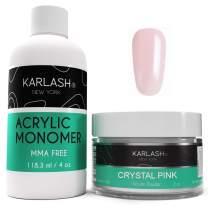 Karlash Professional Polymer Kit Acrylic Powder Crystal Pink 2 oz and Acrylic Liquid Monomer 4 oz for Doing Acrylic Nails, MMA free, Ultra Shine and Strong Nails Acrylic Nail Kit