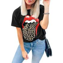 Womens Red Lips Leopard Tongue Printed T Shirt Plus Size Short Sleeve Funny Graphic Loose Tee Tops