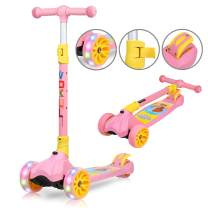 VOKUL Scooters for Kids 3 Wheel Kick Scooter for Toddlers Boys Girls 4 Adjustable Height - Lean to Steer with 120mm Flashing Wheels Wide Deck Scooters for Boys Girls Children from 3 to 10 Year Old