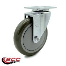 "Service Caster - 5"" x 1.25"" Gray Polyurethane Wheel Swivel Caster Non-Marking - 300 lbs/Caster"