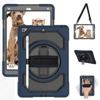 SUPFIVES 2018 iPad 5th Generation Case iPad 6th Generation Case with Pencil Holder+Hand Strap+Shoulder Strap+Stand, Full Body Rugged Shockproof Case for iPad 9.7 Inch (Black+Navy Blue)