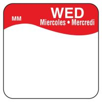 """DayMark MoveMark Day of The Week Trilingual Removable Label, Wednesday, 1"""" x 1"""", Red (Roll of 1000)"""