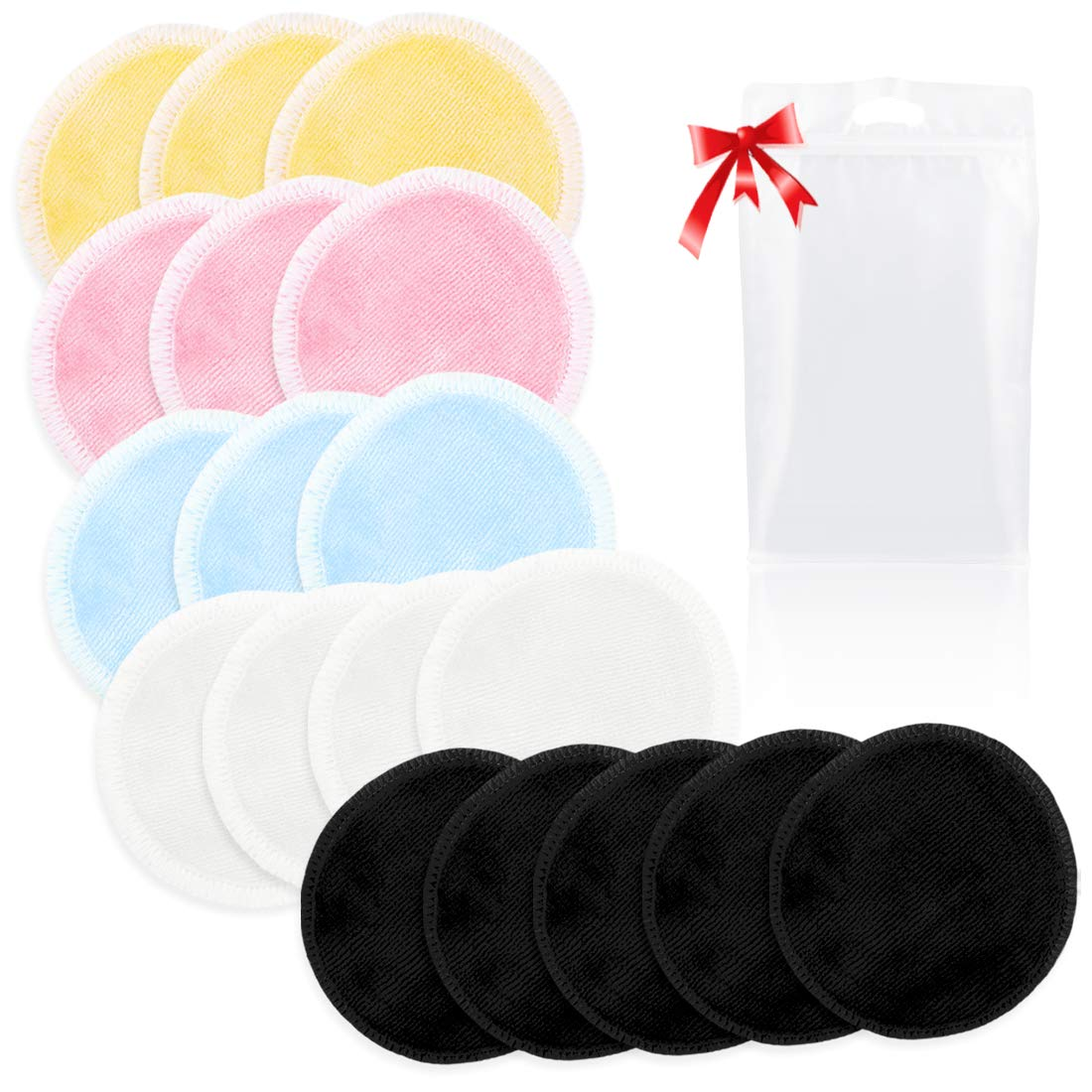 Kalevel 18pcs Organic Cotton Rounds Reusable Makeup Remover Pads Bamboo Toner Pads Washable Makeup Cloth Wipes Natural Zero Waste Face Eye Makeup Remover Cloth Pads with Bag (Mixed Colors)