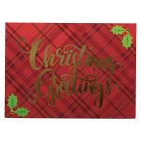 JAM PAPER Handmade Christmas Cards & Matching Envelopes Set - Plaid & Holly Christmas Greetings - 12 Cards/Pack