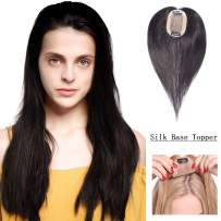 """SEGO Top Hair Pieces for Women Real Human Hair Silk Base Top Stainless Clip in Topper with Thinning Hair Middle Part 100% Density Straight Style 20g 12"""" 1B# Natural Black"""