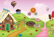 AOFOTO 8x6ft Fantastic Candy Land Landscape Background Doughnut Cartoon Dessert House Photography Backdrop Birthday Party Decoration Banner Cookie Photo Studio Props Kid Baby Girl Vinyl Wallpaper