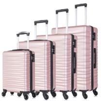4 Piece Luggage Sets, Hardshell ABS Luggage Sets with TSA Lock Spinner Wheels Travel Suitcases Carry On Luggage Set (4 PCS, TSA Lock, Rose Gold)
