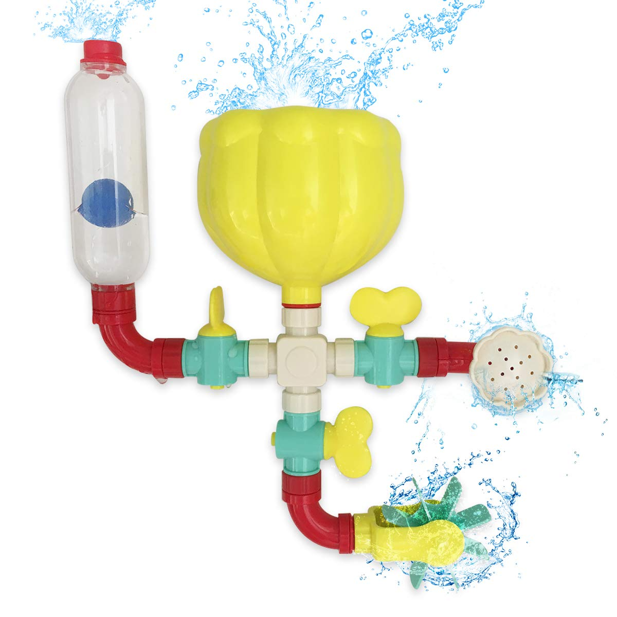Lydaz Pipe Bath Toys with Fun Widgets - Educational Bathtub Water Toy for Age 1 2 3 Years Old Baby Kids Toddlers - Multiple Ways to Play