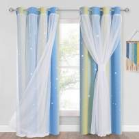 PONY DANCE Pastel Curtains Room Decor for Kids Girls Gradient Stripe Blackout Drapes Window Covering with Cutout Stars Overlay White Sheer, 52 Wide x 95 Long, Blue/Yellow, Set of 2