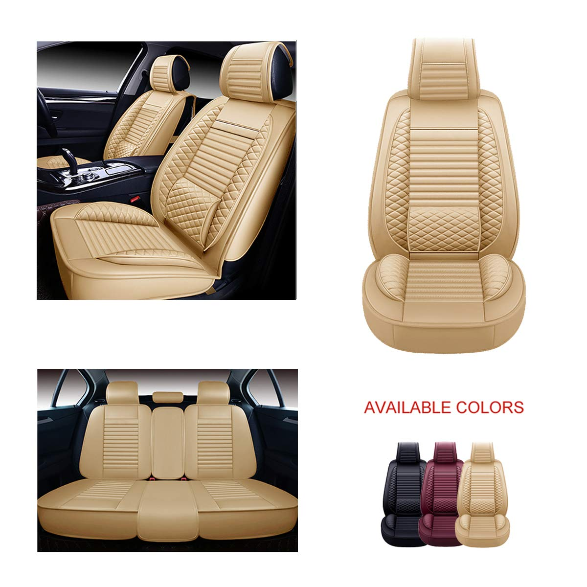 OASIS AUTO OS-001 Leather Car Seat Covers Faux Leatherette Automotive Vehicle Cushion Cover for Cars SUV Pick-up Truck Universal Fit Set for Auto Interior Accessories Full Set, Black